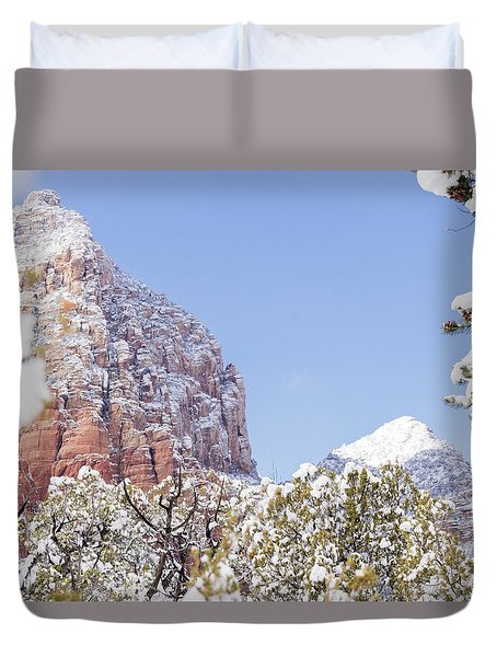 Snow Covered Duvet Cover by Laura Pratt