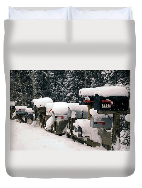 Snow Covered Mailboxes Duvet Cover