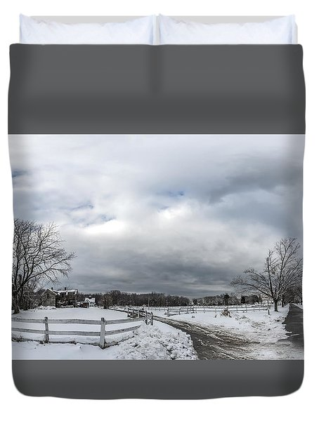 Snow Covered Maryland Stable In Winter Duvet Cover