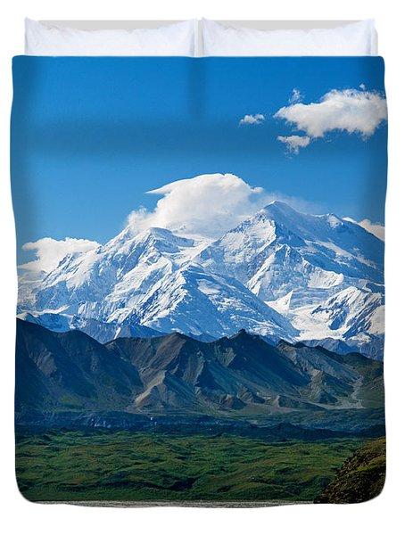 Snow-covered Mount Mckinley, Blue Sky Duvet Cover