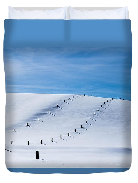Snow Covered Pasture Duvet Cover