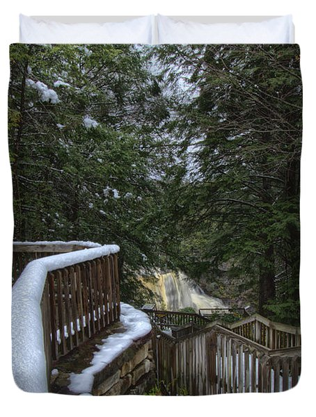 Snow Covered Path Duvet Cover