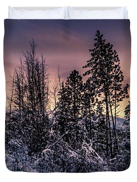 Snow Covered Pine Trees Duvet Cover
