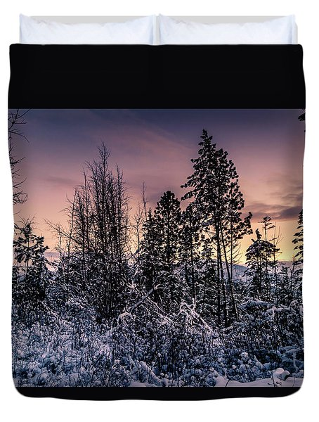 Snow Covered Pine Trees Duvet Cover