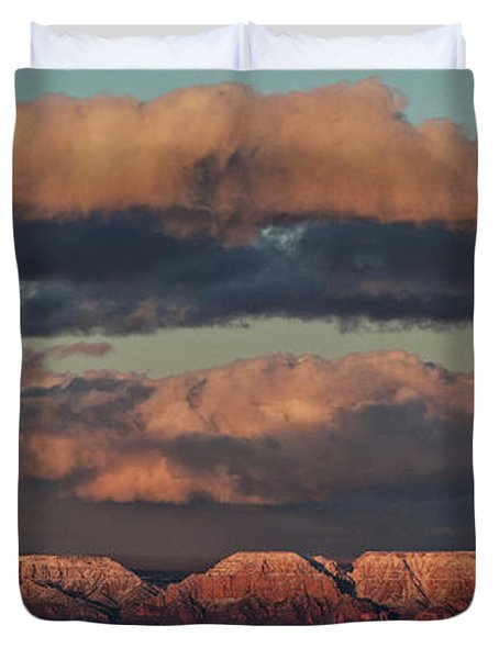 Snow Covered Red Rock Panorama Duvet Cover