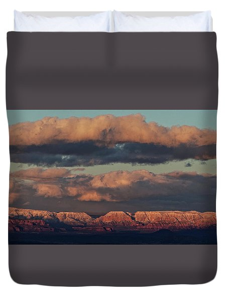 Duvet Cover featuring the photograph Snow Covered Red Rock Panorama by Ron Chilston