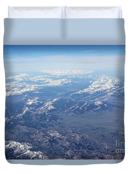 Snow Covered Rocky  Duvet Cover