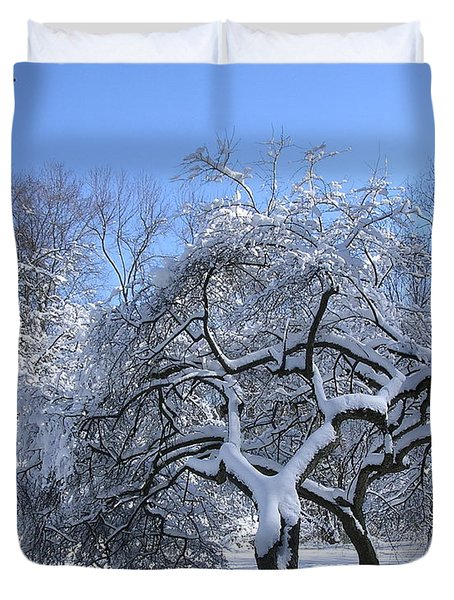 Duvet Cover featuring the photograph Snow-covered Sunlit Apple Trees by Byron Varvarigos