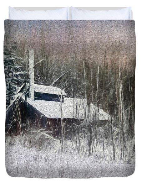 Snow Covered Vermont Sugar Shack.  Duvet Cover