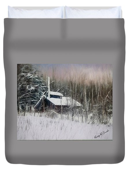 Snow Covered Vermont Sugar Shack.  Duvet Cover