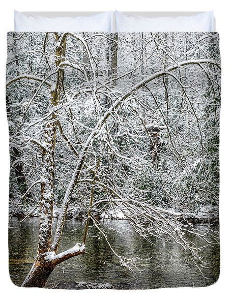 Duvet Cover featuring the photograph Snow Cranberry River by Thomas R Fletcher