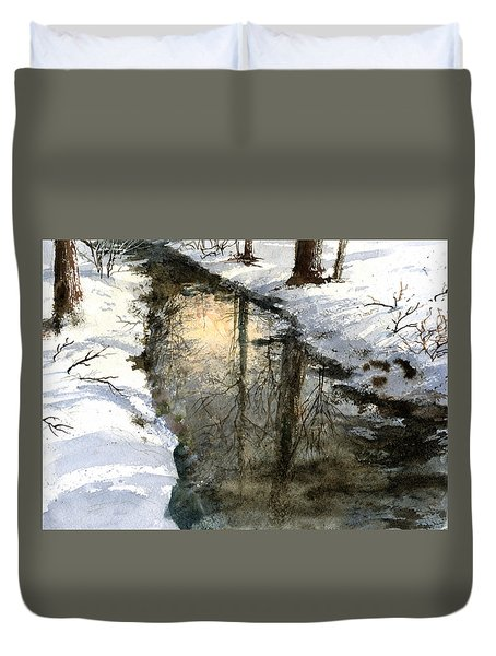 Duvet Cover featuring the painting Snow Creek by Andrew King