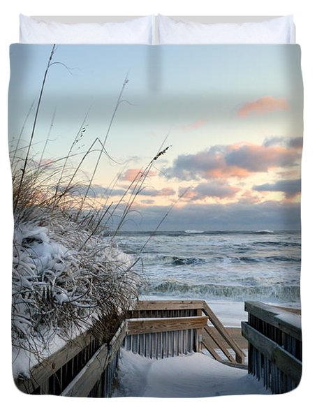 Snow Day At The Beach Duvet Cover