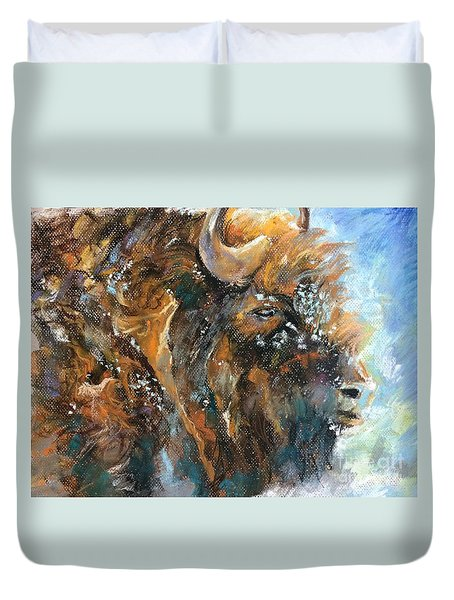 Duvet Cover featuring the painting Snow Day Buffalo by Jieming Wang