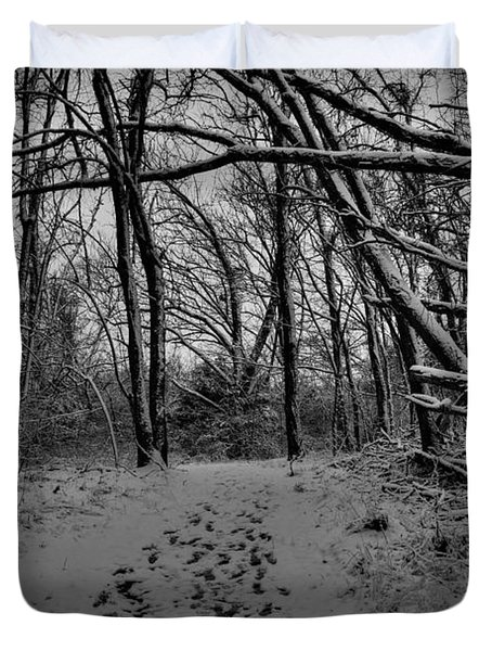 Duvet Cover featuring the photograph Snow Day Walk In The Woods 001 Bw by Lance Vaughn