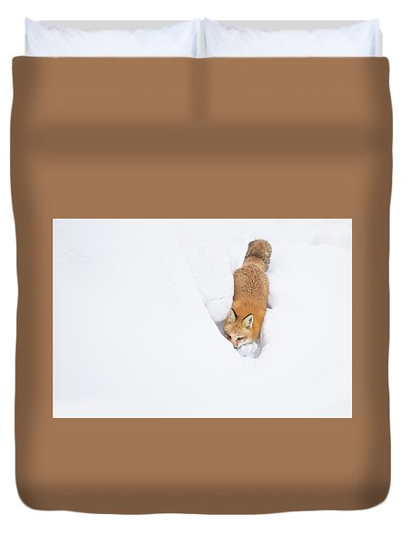 Duvet Cover featuring the photograph Snow-diving Fox  by Mircea Costina Photography