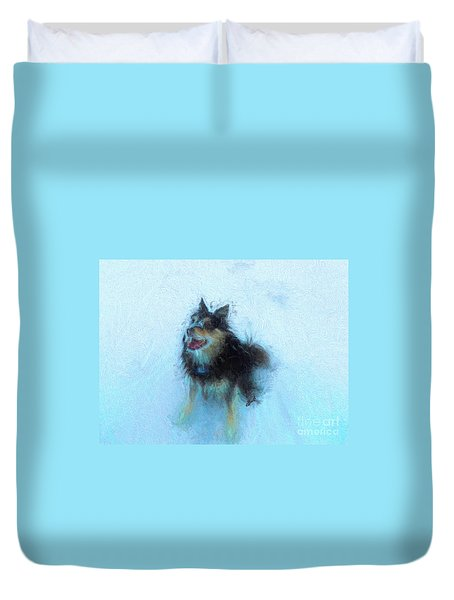 Snow Dog  Duvet Cover by Claire Bull