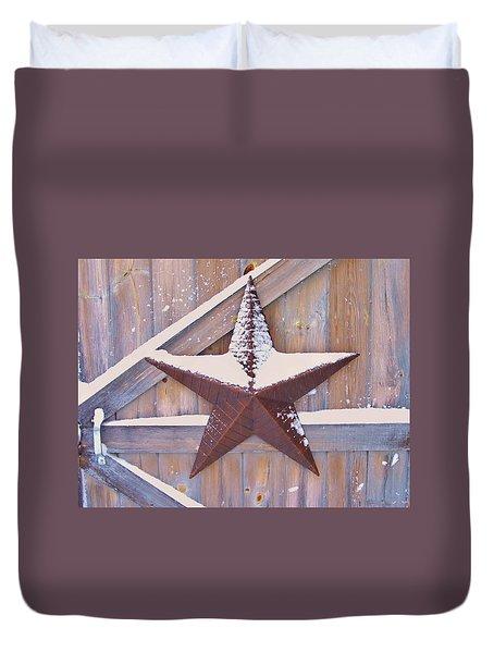 Snow Dusted Barn Star Duvet Cover