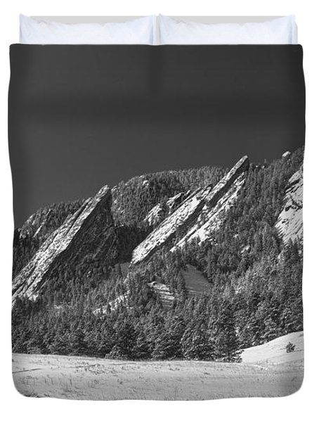 Snow Dusted Flatirons Boulder Co Panorama Bw Duvet Cover by James BO  Insogna