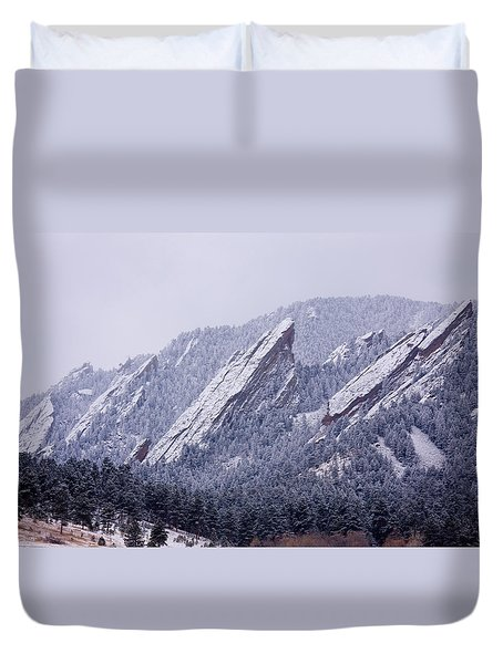 Snow Dusted Flatirons Boulder Colorado Duvet Cover