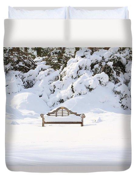 Snow Dwarfed Bench Duvet Cover