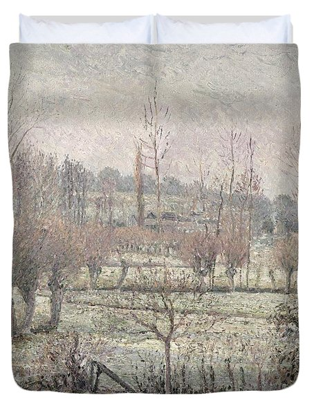 Snow Effect At Eragny Duvet Cover by Camille Pissarro