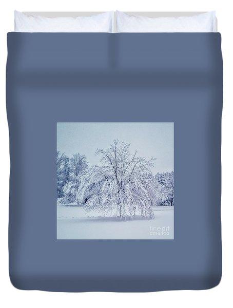Snow Encrusted Tree Duvet Cover
