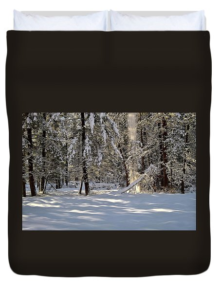 Snow Falling Off Cedars Duvet Cover