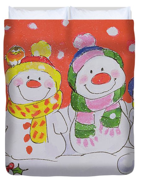 Snow Family Duvet Cover by Diane Matthes