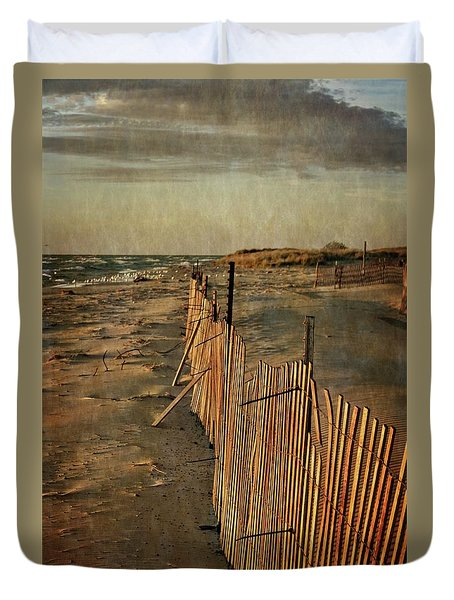 Duvet Cover featuring the photograph Snow Fence And Lake Michigan by Michelle Calkins