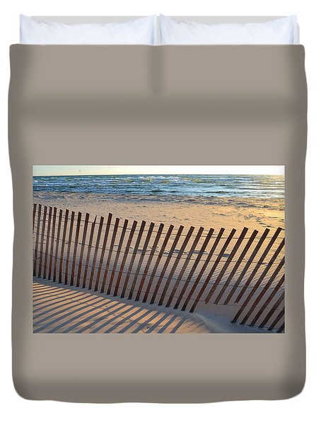 Duvet Cover featuring the photograph Snow Fence On Lake Michigan by Michelle Calkins