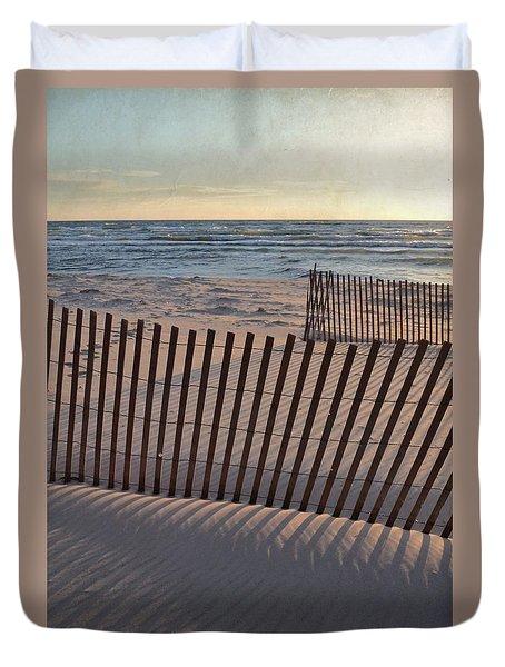 Duvet Cover featuring the photograph Snow Fences 2.0 by Michelle Calkins