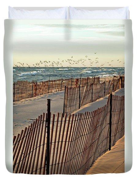 Duvet Cover featuring the photograph Snow Fences 3.0 by Michelle Calkins