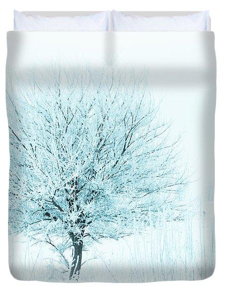 Snow Field Tree Duvet Cover
