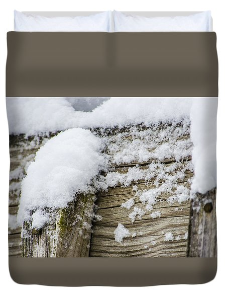 Duvet Cover featuring the photograph Snow Fluff And Woodgrain by Deborah Smolinske
