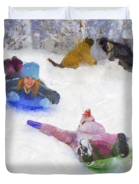 Snow Fun Duvet Cover by Francesa Miller