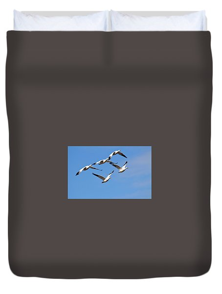 Duvet Cover featuring the photograph Snow Geese Flormation by Elvira Butler