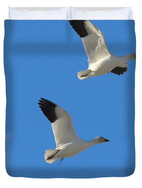 Snow Geese Moon Duvet Cover