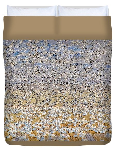 Snow Geese Take Off 2 Duvet Cover