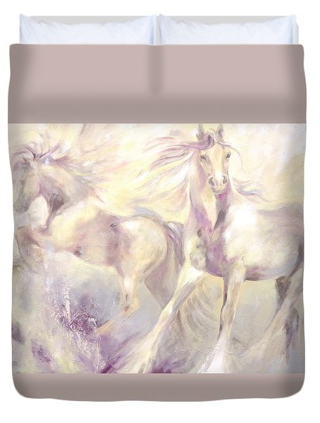 Duvet Cover featuring the painting Snow Gypsies by Dina Dargo