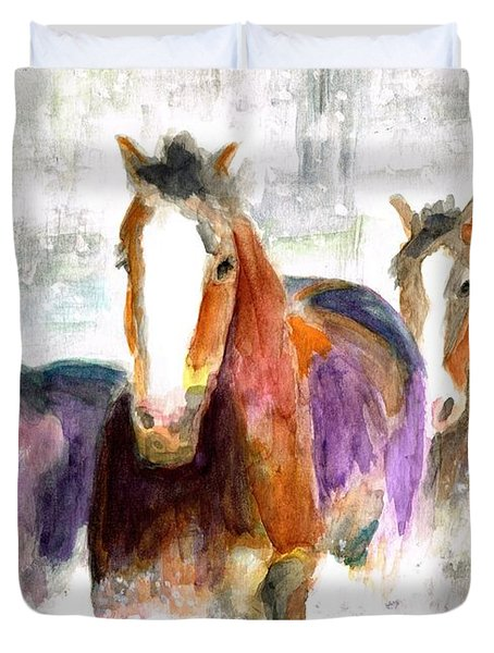 Snow Horses Duvet Cover by Frances Marino