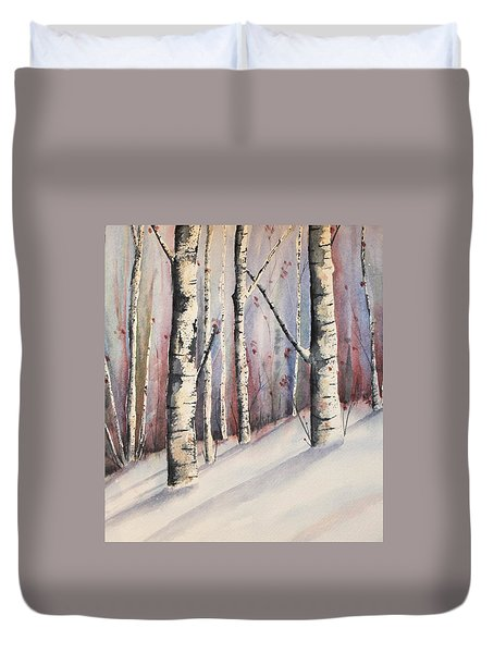 Snow In Birches Duvet Cover