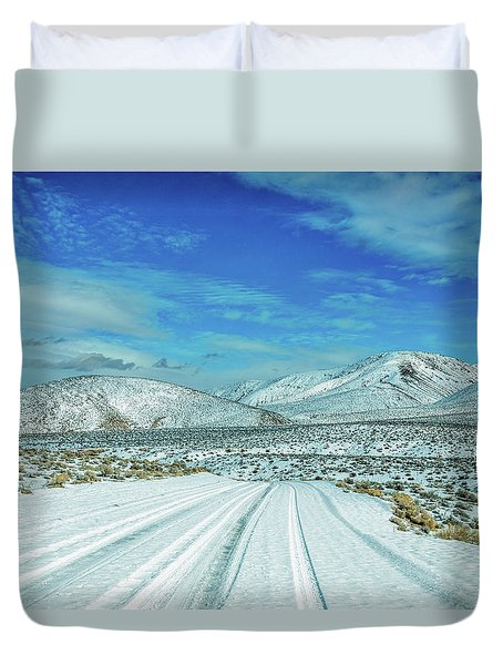 Duvet Cover featuring the photograph Snow In Death Valley by Peter Tellone