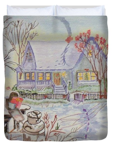 Snow In Oregon Duvet Cover by Connie Valasco