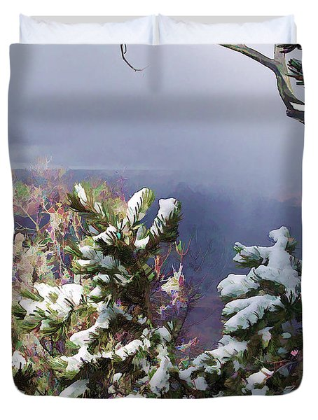 Snow In The Canyon Duvet Cover