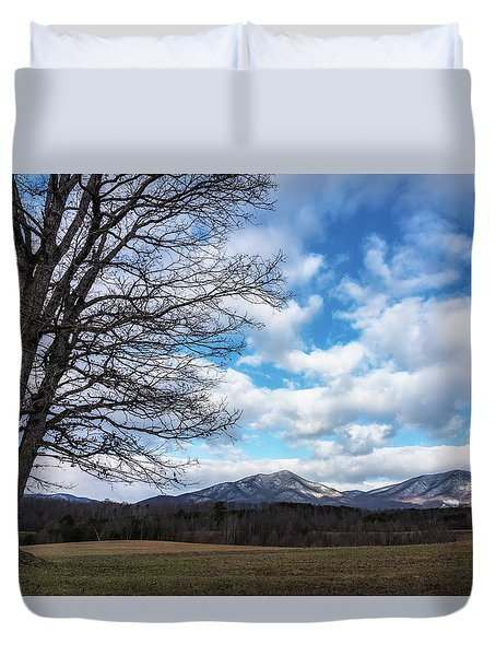 Snow In The High Mountains Duvet Cover