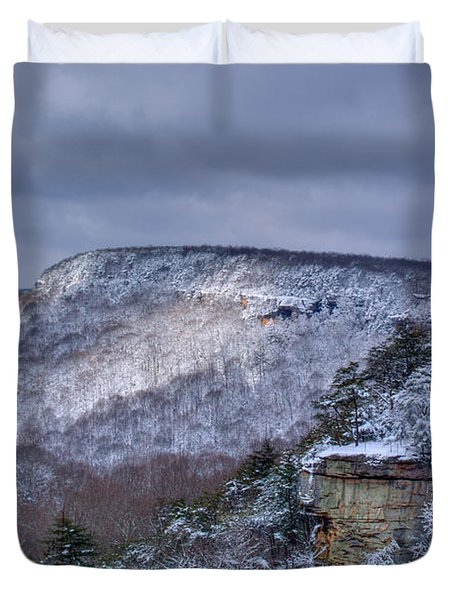 Snow In The Mountains Duvet Cover