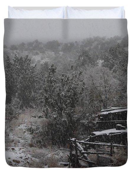 Snow In The Old Santa Fe Corral Duvet Cover