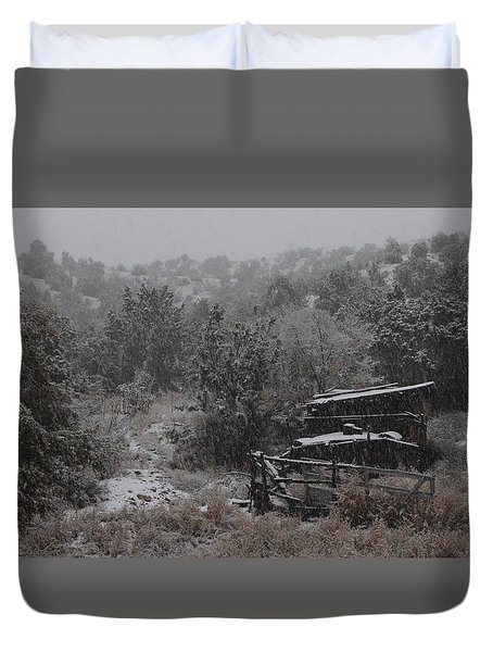 Snow In The Old Santa Fe Corral Duvet Cover