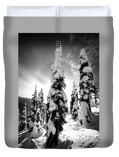 Snow Laden Tree Duvet Cover